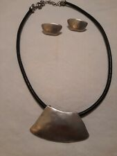 signed CHICO'S Collar Pendant Necklace earrings set silver Black leather cord