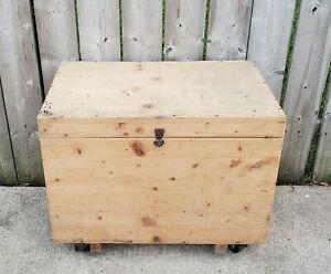 Vintage Wooden Treasure Chest Storage Trunk Organizer Box Coffee Table Bench