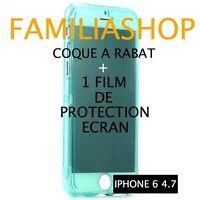 Housse étui pochette coque rabat silicone vert iphone 6 4.7 + 1 film
