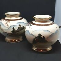 Antique Japanese Satsuma Vases SHIMAZU Symbol Signed GYOZAN Meiji Period c1895