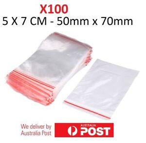 100x Small Zip Lock Plastic Bags  Resealable Zipper New 5cmX7cm WHOLESALE BULK