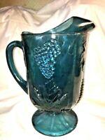 Vintage Indiana Carnival Glass Pitcher Harvest Grape Blue / Purple Iridescent