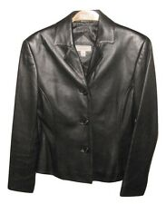 Lord and Taylor Woman Black Leather Jacket Blazer Exclusively for You Size 4