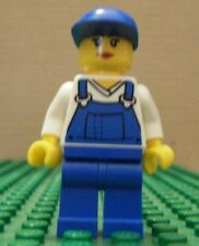 LEGO MINIFIGURE–TOWN CITY–FEMALE, BLUE OVERALLS, BLUE CAP–GENTLY USED