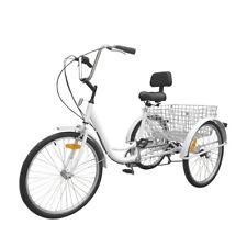 24 Zoll Dreirad 3 Rad Fahrrad Erwachsene 6-Gang Tricycle Einkaufen Fahrrad Weiß