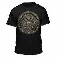 Aztec Calendar Sun Stone Mexican Art Carving Maya Mayans T-Shirt