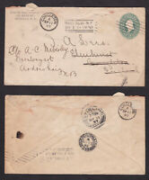 United States USA 1897 Redirected Postal Stationery Cover to England