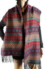 New Women Winter Warm Viscose Tassel Plaid Geometric Cowl Neck Scarf Stole Shawl