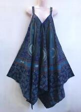 MOD Hippie Bohemian Gypsy Festival Baggy Harem Jaipur Block Print Jumpsuit Blue