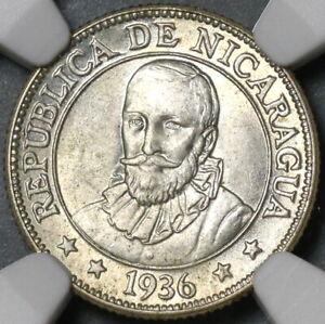 1936 NGC MS 64 Nicaragua Silver 10 Centavos Volcanos Cordoba Coin (21031601C)