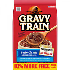 15.4lbs Beefy Dry Dog Food Bag Gravy Train Classic Balanced Crunchy Snack Treats