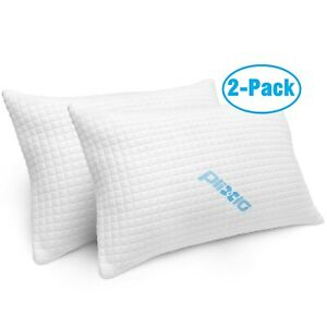 Queen Bamboo Shredded Memory Foam Pillows Size Hypoallergenic Cooling (2 Pack)