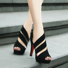 New Women Sexy Fishmouth Sandals Summer High-heeled Platforms Black Roman Shoes
