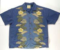 Joe Marlin Blue Hawaiian Tropical Floral Men's Button Down Shirt Size Large