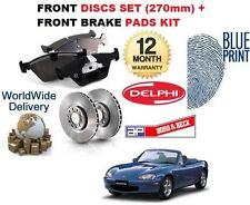 Para Mazda MX5 Eunos 1.6 1.8 1998-2005 276mm Discos De Freno Trasero Conjunto Kit de almohadillas