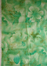 Made in Japan 100% Swiss Cotton Voile Green Floral Abstract Print Fabric