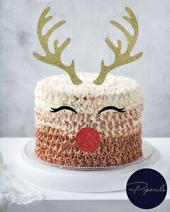Reindeer Antlers Eyes & Nose Glitter Christmas Cake Topper Xmas Reindeer Cake