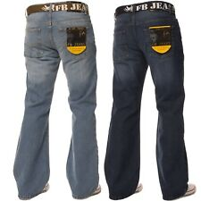 New Mens FBM Branded Flare Bootcut Fit Wide Leg Denim Blue Jeans with Free Belt