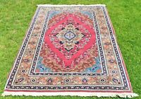 Turkish Handmade Vintage Kayseri Carpet Anatolian Oriental Wool Area Rug 4x6 ft.
