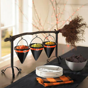 Halloween Broom Stick Broomstick Snack Bowl Stand For Candy Dessert Plates Party