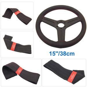 15''/38cm Non-Slip DIY Car Steering Wheel Cover Genuine Leather W/ Needle Thread