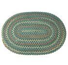 "Country Prim Braided Oval Rug Americana Colonial Green 30"" Folk Art Traditional"