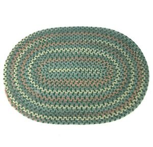 "Country Prim Braided Oval Rug Americana Colonial Green 30"" Folk Art Traditional"
