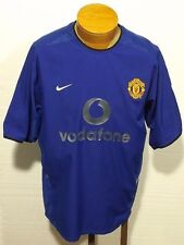 vintage blue MANCHESTER UNITED jersey VODAFONE soccer football LARGE