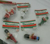 Vintage Wood Christmas Ornaments Soldiers Santa Lot of 5 NOS 1980s