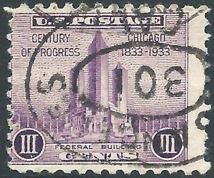 U.S. #729 Chicago's 1933 Century of Progress Expo INVERTED OVAL CANCEL UNH
