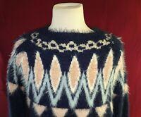 LAUREN CONRAD Fuzzy Sweater Womens Large Kohls Medieval Blue