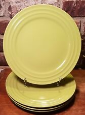 "Rachael Ray DOUBLE RIDGE GREEN APPLE Dinner plate set(s) of 4, 11 1/8"", New, NWT"
