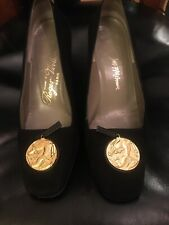 Vintage Roger Vivier Black Suede Shoes With Gold Medallion Accent Size 7B