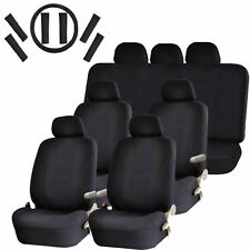 New Air Bag Seat Covers for Vans 30pc Solid Black Steering Wheel Belt Head Rests