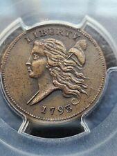 1793 LIBERTY CAP 1/2 C, PCGS GRADED AU, SPECTACULAR COIN! C-3, B-3, R-3
