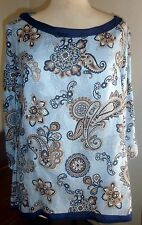 ALTEA Saks 5th fifth avenue linen tunic blouse blue and paisley, NWT, size XL