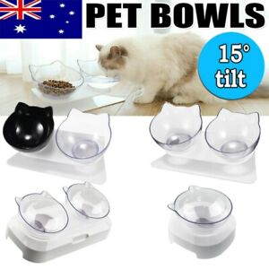 Pet Cat 15° Tilt Bowl Non-slip with Raised Stand Food Water Bowl Cats Dog Feeder