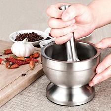 Stainless Steel Mortar and Pestle Garlic Press Pot Pedestal Bowl Herb Masher