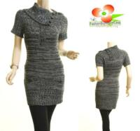 Celebrity Women Black Tweed Cable Knitted Sweater Dress Rib Tunic Top S M L XL