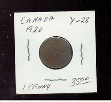 1920 Canada One Cent  small Penny coin Y 28