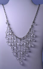 VINTAGE DRIPPY DANGLE CRYSTAL BIB NECKLACE - ADJUSTABLE - 15 to 20 INCHES LONG