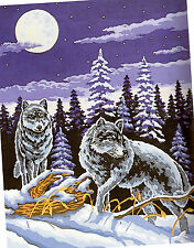 """""""Wolf Pair on the Hunt"""" Wool Tapestry KIT to stitch- 50 x 60cm ! LIMITED STOCK!"""