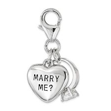 Amore La Vita .925 Sterling Silver W/ CZ MARRY ME Heart And Ring Lobster Charm