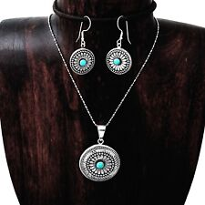 Hand Made Concho Style Flower Turquoise Pendant Earring Set Taxco Mexico