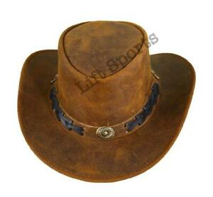 New Men's Brown Stylish Cowboy Hat Western Original Genuine Cow Hide Leather