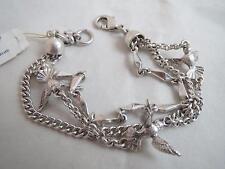 lucky brand silver tone triple strand~bird bracelet, NWT