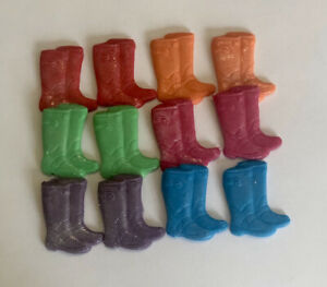 12 EDIBLE SUGARPASTE ICING BRIGHT WELLIES BOYS GIRLS BIRTHDAY CAKE TOPPERS