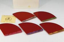 KYOTO ZOHIKO URUSHI Wood Plate Set 5pc Folding-Fan-Shaped w/box Free Ship 638k15