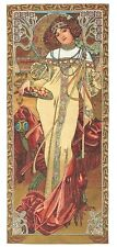 TAPESTRY MUCHA AUTOMN WOMAN LADY NEW ART FRANCE WALL HANGING  ANTIQUE VINTAGE