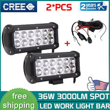 2x 7inch 36W CREE LED WORK LIGHT BAR SPOT OFFROAD 4X4 4WD ATV Truck +WIRING KIT